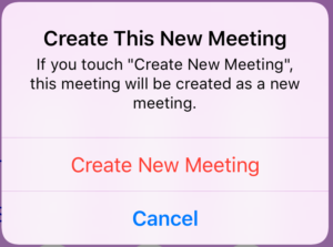 Confirm Create New Meeting