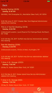 List of Deleted Meetings