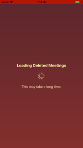 Fetching Deleted Meetings Screen