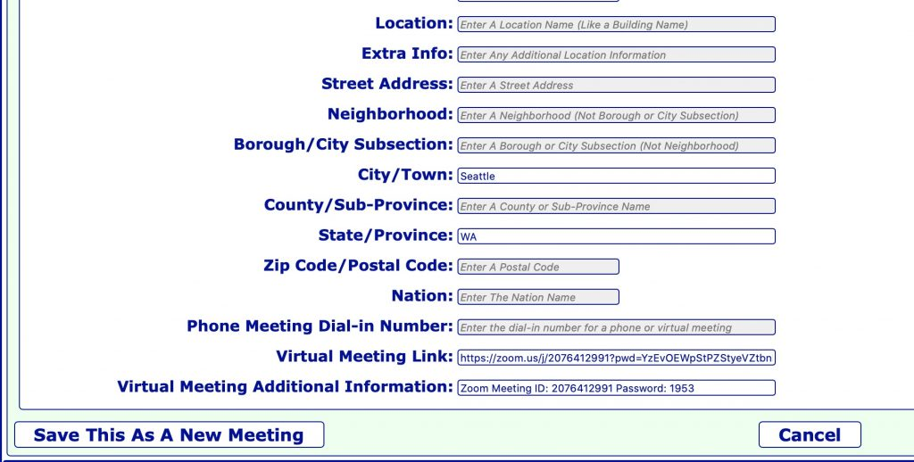 Screenshot of meeting editor. These fields are filled in with sample data: City/Town, State/Province, Virtual Meeting Link, Virtual Meeting Additional Information