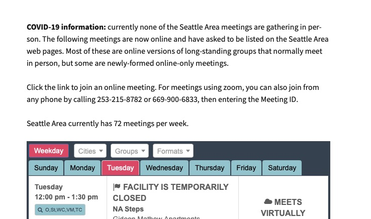 Screenshot of the heading information above a Crouton table, with the sentence 'Click the link to join an online meeting. For meetings using zoom, you can also join from any phone by calling 253-215-8782 or 669-900-6833, then entering the Meeting ID.'