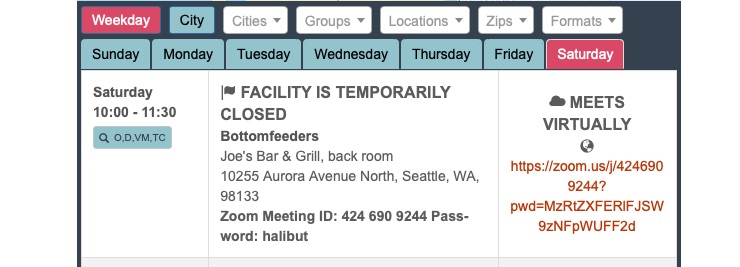 Screenshot of Crouton display for a meeting called Bottomfeeders, including the location and address, zoom meeting ID and password, and Zoom URL
